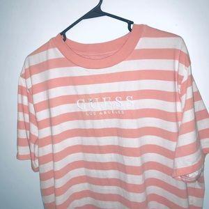 Guess Originals Striped Pink / White T Shirt